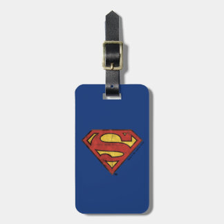 Superman S-Shield | Grunge Black Outline Logo Luggage Tag