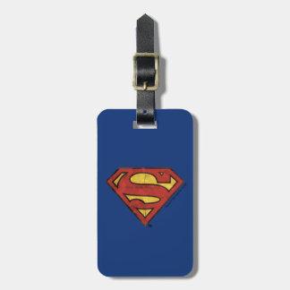 Superman S-Shield | Grunge Black Outline Logo Luggage Tag