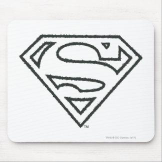 Superman S-Shield | Grunge Black Outline Logo Mouse Mat