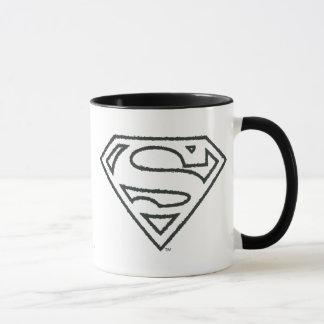 Superman S-Shield | Grunge Black Outline Logo Mug