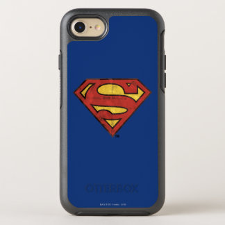 Superman S-Shield | Grunge Black Outline Logo OtterBox Symmetry iPhone 8/7 Case