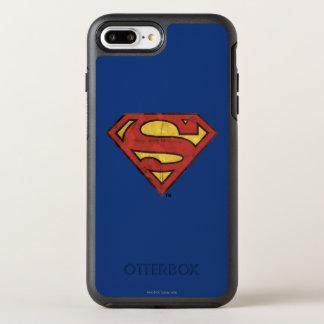 Superman S-Shield | Grunge Black Outline Logo OtterBox Symmetry iPhone 8 Plus/7 Plus Case