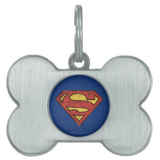Superman S-Shield | Grunge Black Outline Logo Pet Name Tags