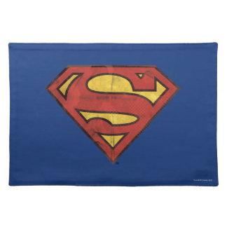 Superman S-Shield   Grunge Black Outline Logo Placemat