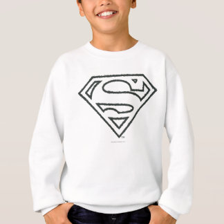 Superman S-Shield | Grunge Black Outline Logo Sweatshirt