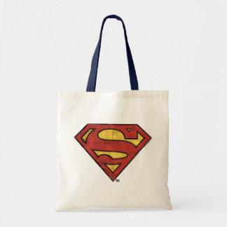 Superman S-Shield | Grunge Black Outline Logo Tote Bag