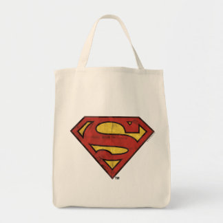 Superman S-Shield | Grunge Black Outline Logo Tote Bag
