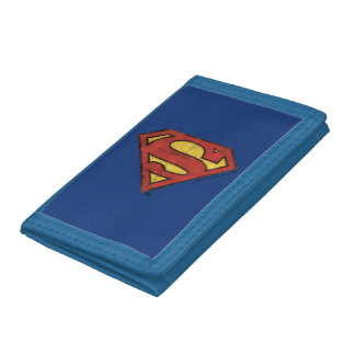 Superman S-Shield | Grunge Black Outline Logo Tri-fold Wallets