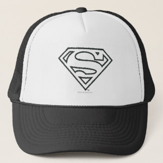 Superman S-Shield | Grunge Black Outline Logo Trucker Hat