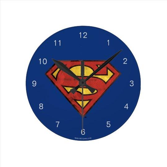 Superman S-Shield   Grunge Black Outline Logo Wallclocks
