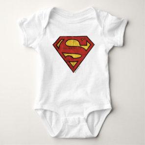 Superman S-Shield   Grunge Logo Baby Bodysuit