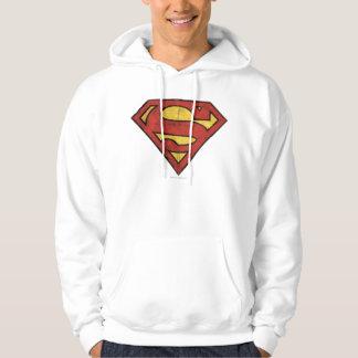 Superman S-Shield   Grunge Logo Hoodie