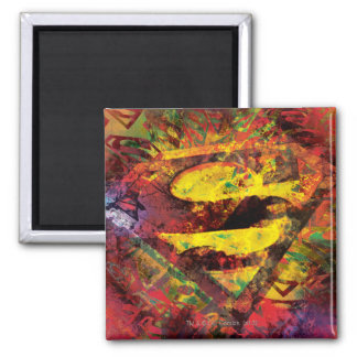 Superman S-Shield | Grunge Logo Square Magnet