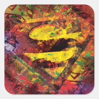 Superman S-Shield | Grunge Logo Square Sticker