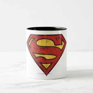 Superman S-Shield | Grunge Logo Two-Tone Coffee Mug
