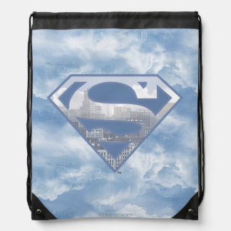 Superman S-Shield   Light Blue City Logo Drawstring Bag
