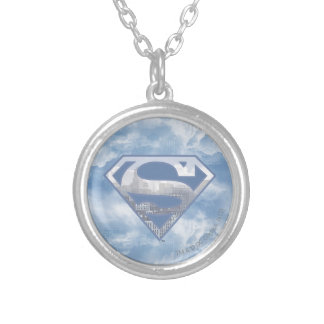Superman S-Shield | Light Blue City Logo Silver Plated Necklace