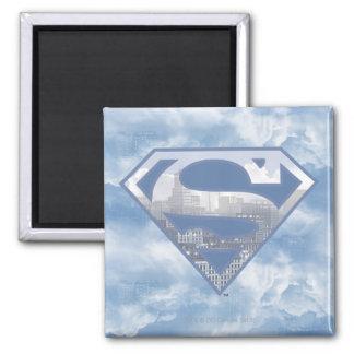 Superman S-Shield | Light Blue City Logo Square Magnet
