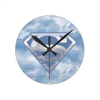 Superman S-Shield   Light Blue City Logo Wallclock