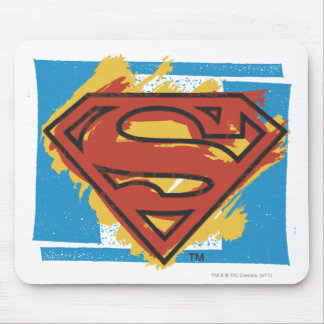 Superman S-Shield | Painted Blue Background Logo Mouse Mat