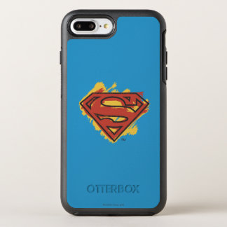 Superman S-Shield | Painted Blue Background Logo OtterBox Symmetry iPhone 8 Plus/7 Plus Case