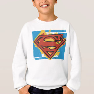 Superman S-Shield | Painted Blue Background Logo Sweatshirt