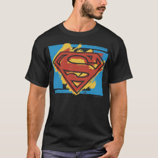 Superman S-Shield | Painted Blue Background Logo T-Shirt
