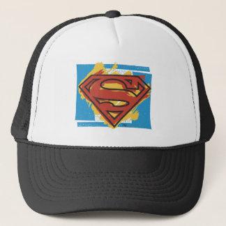 Superman S-Shield | Painted Blue Background Logo Trucker Hat