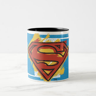 Superman S-Shield | Painted Blue Background Logo Two-Tone Coffee Mug
