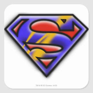 Superman S-Shield | Purple Airbrush Logo Square Sticker