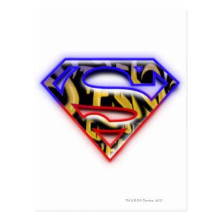 Superman S-Shield | Purple-Red Graffiti Logo Postcard