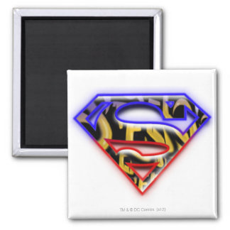 Superman S-Shield | Purple-Red Graffiti Logo Square Magnet