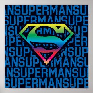 Superman S-Shield   Rainbow Logo Poster