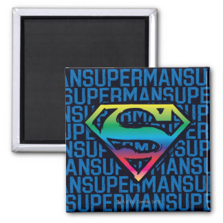 Superman S-Shield | Rainbow Logo Square Magnet