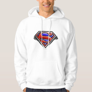Superman S-Shield   Red Airbrush Logo Hoodie
