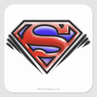 Superman S-Shield | Red Airbrush Logo Square Sticker