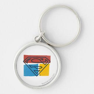 Superman S-Shield | Red Blue Yellow Block Logo Key Ring