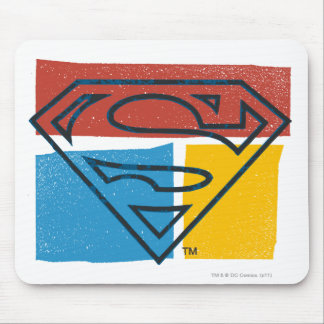 Superman S-Shield | Red Blue Yellow Block Logo Mouse Pad