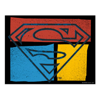 Superman S-Shield | Red Blue Yellow Block Logo Postcard