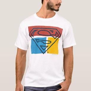 575e0591 Superman S-Shield | Red Blue Yellow Block Logo T-Shirt