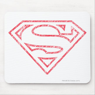 Superman S-Shield | Red Outline Logo Mouse Mat