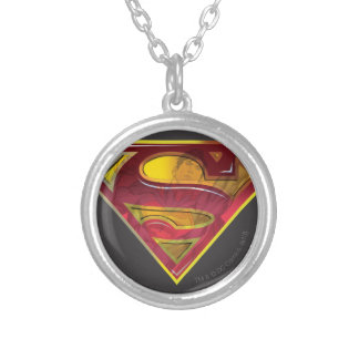 Superman S-Shield   Reflection Logo Silver Plated Necklace
