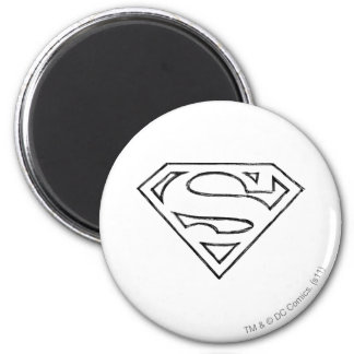 Superman S-Shield | Simple Black Outline Logo 6 Cm Round Magnet
