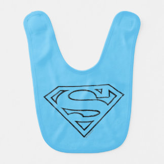 Superman S-Shield | Simple Black Outline Logo Bib