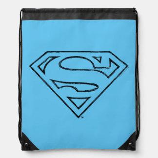 Superman S-Shield | Simple Black Outline Logo Drawstring Bag
