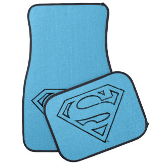 Superman S-Shield | Simple Black Outline Logo Floor Mat