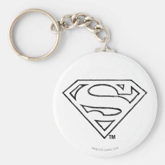 Superman S-Shield   Simple Black Outline Logo Key Ring