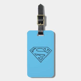 Superman S-Shield | Simple Black Outline Logo Luggage Tag
