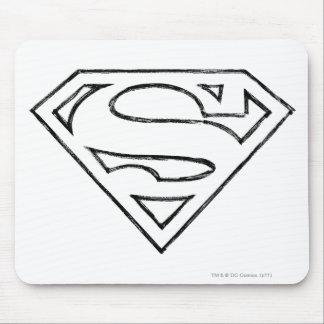 Superman S-Shield | Simple Black Outline Logo Mouse Mat