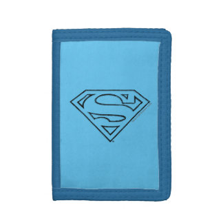 Superman S-Shield | Simple Black Outline Logo Tri-fold Wallets